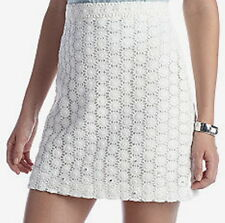 NWT $148 French Connection White Straight Skirt Sparkle Sunflower Size 8 10