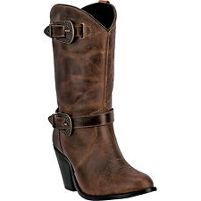 Dingo Womens Brown Nelly Leather Cowboy Boots 10in Zipper