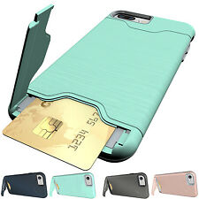 Hybrid Shockproof Card Pocket Kickstand Armor Case Cover for iPhone 6 6S 7 Plus