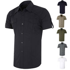 Short sleeve Stylish Mens Button-Down Military Shirts Tops Casual Dress Shirt