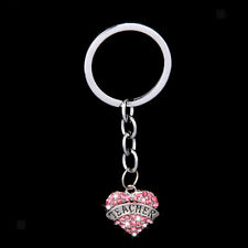 Pink Crystal Family Mom Sister Heart Key Ring Keychain Pendant Charms Xmas Gifts