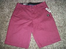 VOLCOM STONE New NWT Mens Walk Shorts Casual Burgundy Maroon Chino 33 34 36