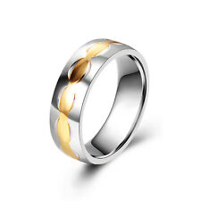 Vintage Stainless steel Mens Womens Wedding Gold Wave Rings Size 7 8 9 10 11