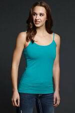Cowgirl Up Womens Turquoise Cotton Blend Cami Tank Top Satin Trimmed