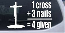 1 Cross + 3 Nails Car or Truck Window Laptop Decal Sticker Religious 14X8.7