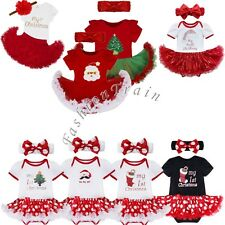My First Christmas Santa Baby Girl Romper Bodysuit Tutu Fancy Dress Up Outfits