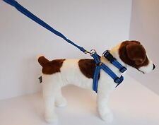 Reflective Dog Harness, Collar and Lead Black, Blue & Red Small