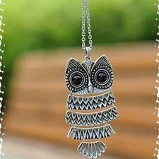 New Hot Vintage  Necklace 2016 Long Chain Owl Pendant Retro  Silver bronze