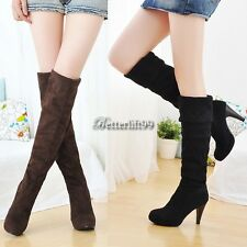 Women Over Knee Faux Suede Stretch Thigh High Slouchy high Heel Boots Shoes BF9