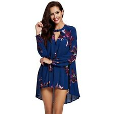 Round Collar Long Sleeves Mini Dress Hollow Out Keyhole Floral Print