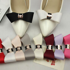Fashion Color Black White Red Blue Plastic Bow Wedding Shoe Clips Pair