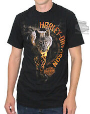 Harley-Davidson Mens Rider of the Eclipse Wolf Black Short Sleeve T-Shirt