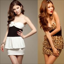 Womens Summer Strapless Club Flouncing Lady Party Tight Mini Dress