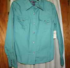 DuckHead Jeans Co. Shirt Ladies Western Long Sleeve Shirt Green Junior Large