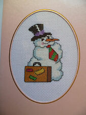 completed finished cross stitch card ''Cute Snowman'' 5 by 7