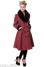 Banned Vintage Style 1950s Burgundy Wool Mix Fashion Statement Super Cosy Coat