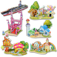 Lovely Cartoon Castles 3D DIY Jigsaw Puzzle Wisdom Baby Kids Educational Toys