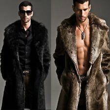 New Fashion Men Faux Fur Coat Long Jacket Outerwear Winter Warm Luxury Overcoat