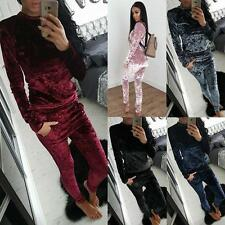 Autumn Winter Womens Crushed Velvet Lounge Suit Sweatshirt Lounge Wear Tracksuit