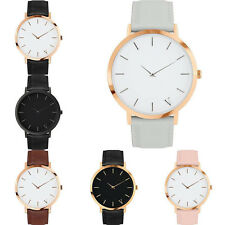 Women Men New Simple Casual Watch Quartz Analog Gold Leather Band Wrist Watches