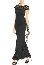 NWT $189 Betsy & Adam Illusion Lace Ruched Cascade Ruffle Dress Gown Black 6 P