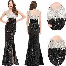 Sequined Split Formal Evening Ball Gown Party Prom Cocktail Pageant Maxi Dress