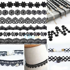 15 Yards Black Embroidered Lace Trim DIY Applique Ribbon Wedding Sewing Crafts