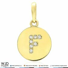 "14k Yellow Gold 0.20Ct Created Diamond Initial Alphabet Letter ""F"" Charm Pendant"