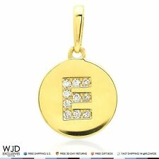 "14k Yellow Gold 0.20Ct Created Diamond Initial Alphabet Letter ""E"" Charm Pendant"