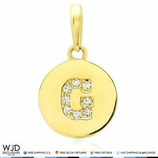 "14k Yellow Gold 0.20Ct Created Diamond Initial Alphabet Letter ""G"" Charm Pendant"