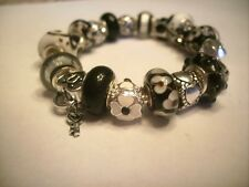 European Style Charm Bracelet  Black  & White Murano Glass Beads Charms Stones