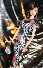 "Handmade OOAK 11.5""  Fashion Doll Dress -GRAPHIC 1 Print Dress with Collar SE"