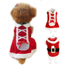NEWEST Christmas Santa Claus Dog Pet Cat Clothes Costume Dress Winter Apparel US