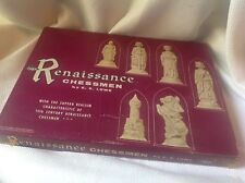 Vintage 1959 RENAISSANCE FELTED CHESS SET by E.S. Lowe COMPLETE Box Booklet #831
