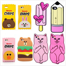3D Cute Cartoon Soft Silicone Case Cover Back Skin For iPhone 5 SE 6 Plus
