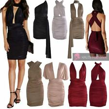 NEW MULTIWAY RUCHED TIE BACK SEXY SLINKY WRAP BODYCON PARTY DRESS UK 6-14
