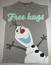 PRIMARK LADIES DISNEY OLAF the SNOWMAN FREE HUGS T SHIRT TEE TOP UK 6 - 8 FROZEN