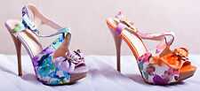 Stiletto High Heels Platform Ankle Strap Strappy Floral Bow Buckle Sandals Sizes