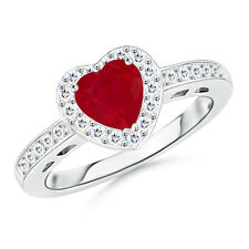Solitaire Heart Ruby with Diamond Halo Engagement Ring 14k White Gold Size 3-13