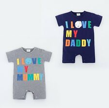 Baby Toddler Boy Girl I LOVE MOM/ DAD Outfit Romper Suit One Piece Clothes 0 1 2