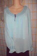Baby Blue Medieval Peasant Top Blouse~XL 1X 16~Lucy Pereda Designer Shirt~Gypsy