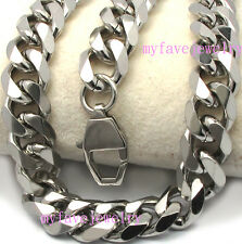 Mens Boys 11mm 316L Stainless Steel 6 Faceted Cut Cuban Chain Necklace