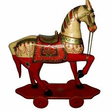 ANTIQUE VINTAGE LOOK HORSE STAND ON PLATE FARM WITH WHEEL SIZE 87 X 77 X 32 CMS