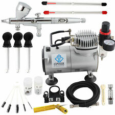 OPHIR Double-Action Trigger Air-pain Control Airbrush Kit with Air Compressor