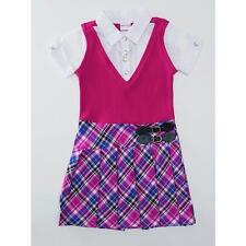 Girls Nanette Pleated Dress Pink Plaid School Preppy Various sizes NWT
