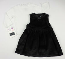 NEW Gymboree 3pc Jumper Outfit Set Black White Holiday Hair Bow 12 18 24 Mo NWT