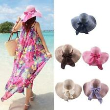 Elegant Ladies Womens Sun Hat Wide Brim Summer Beach Cap Straw Bowknot Derby Cap
