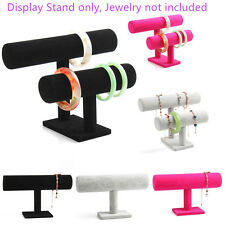 Velvet Bracelet Chain Watch T-Bar Rack Jewelry Hard Display Stand Holder Black