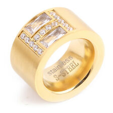 Unique Gold 316L Stainless Steel Square Zircon Crystal Ring Wedding Jewelry Gift