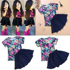 Girls Summer Dress Short Sleeves Floral Pattern T-shirt with Black Skirt Outfits